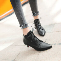 Ankle Boots Lace Up Suede Kitten Heels Fashion Solid Pointy Toe Women Shoes NEW