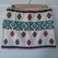 Zara Woman Skirt Medium Aztec Navajo Mini Pencil Embroidered
