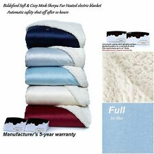 Biddeford Soft & Cozy Mink Sherpa Fur Heated electric blanket  Full - Baby Blue