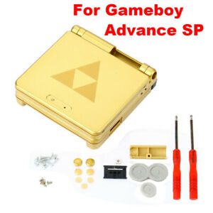 Game Boy Advance SP Replacement Housing Shell Gold Zelda Triforce Glass Lens