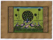Indian Peacock Bird Miniature Watercolor Painting Original Paper Hand Painted