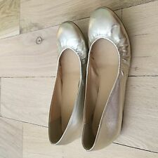 J.Crew Cece metallic platinum leather Ballet Flats shoes size7.5 item 81948 EUC