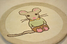 90cm Circle Thick Childrens play rug Beige Green Pink Viscose Modern Mouse rug