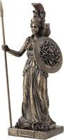 Ancien Grec Déesse Athena / Minerva Avec Bouclier Froid Fonte Bronze Statue 20cm