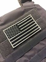 "Large 5x3"" SWAT wolf grey US Made Military Tactical Hook/loop USA Flag patch"