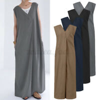 Womens Sleeveless V Neck Jumpsuits Casual Loose Wide Leg Rompers Baggy Playsuits