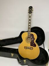 Epiphone EJ 200 Natural 6 String Acoustic Guitar Solid Top W/Case