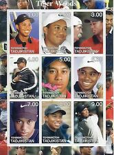 Tiger Woods Uncut Stamp 9 Postage Stamps on Sheet Tadjikistan Golf Pga Rookie?