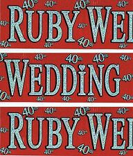 40TH RUBY WEDDING ANNIVERSARY BANNER PACK RED FOIL DECORATIONS (EX) 88
