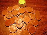 1910-P LINCOLN WHEAT CENT PENNY ROLL, 50 coins