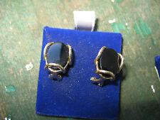 New Old Stock 14kt Black Onyx MODERN Artistic Earrings AVIGAD-Handmade 4.5grams