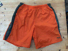 "VTG FILA ORANGE GYM SHORTS SPORTS LARGE 32"" WAIST BOXING RUNNING TRUNKS"