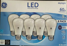 GE 9W LED Light Bulbs 60W Watt Daylight White A19 Standard Non-dimmable 8-Pack