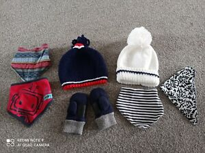Hats, Scarf And Mittens Bundle, Size About 1-2years Red Navy White