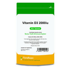 Vitamin D3 2000IU (360 Tablets)  HIGH STRENGTH Nordhaus Quality UK Supplements