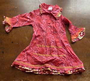 Oilily Floral Dress Girls Size 104 4 Rayon Blend Pink Ruffle Bum Twirl