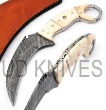 UD HANDMADE 1095 FIXED BLADE DAMASCUS ART FULL TANG KARAMBIT KNIFE QM- 8404