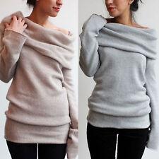 Damen Schulterfrei Pullover Pulli Strickjacke Sweater Sweatshirt Tops Oberteil