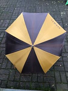 Vintage Aramis Rain Umbrella Two Tone Brown/Gold with Leather Handle 1980s