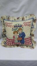 """Antique looking feed sack Blue Ribbon winner  16"""" Throw Pillow"""