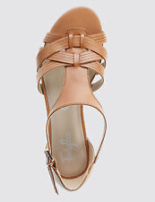 Marks & Spencer Leather Weave Front T-Bar Sandals 8/42 BNWT RRP £48.50 Tan