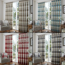 Cotton Blend Checked Ready Made Curtains & Pelmets