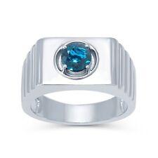 925 Sterling Silver Natural Blue Topaz Gem Stone Ring Men's Jewelery Us Size 7 8