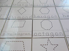 23 Shapes Tracing laminated dry erase cards.  Preschool shape and letter tracing