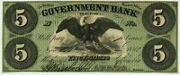 Washington DC - Government Bank $5 Nov. 15, 1862 Gr6 Superb Gem Crisp Example