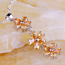 Flower Design Cocktail Gift Morganite Gemstone Silver Necklace Pendant Free Ship