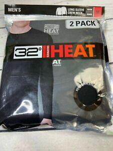 32 Degrees Heat 2 Pack Long Sleeve Crew Neck Black Mens MEDIUM