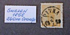 1858   Sweden  Scott #10, 24 Ore, Orange  CV $30 - Used