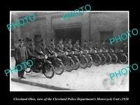 OLD LARGE HISTORIC PHOTO OF CLEVELAND OHIO, THE POLICE MOTORCYCLE SQUAD c1920