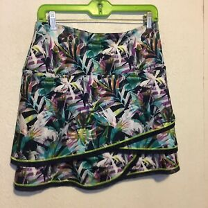 LUCKY IN LOVE Sz M Med 8-10 Tennis Golf Tiered Skort Skirt ~ Wild Tropical Print