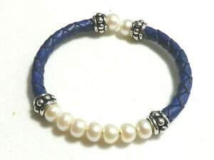 BEAUTIFUL Honora Sterling Silver Freshwater Pearl/Blue Leather Braided BRACELET