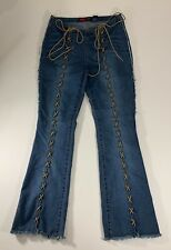 YOUNIQUE JEANS Women's/Juniors 11 Lace-Up Front Low-Rise Flare Leg Jeans Cowgirl