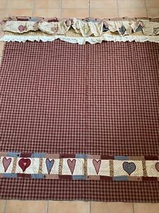 PARK DESIGNS RUFFLED LACE Shower Curtain BURGUNDY TAN PLAID HEARTS EMBROIDERED