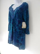 One World Purple Blue Graphic Tunic Top Size L Rhinestones Notch Neck Line