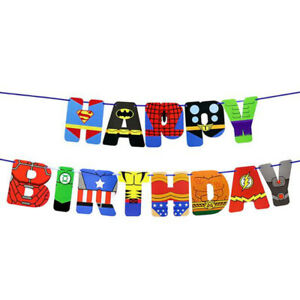 Happy Birthday Buntings Banner Garlands Superhero Spider-man Party Decorations