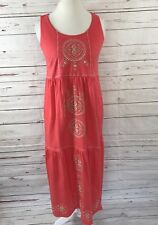 J. Jill Petite Women's Maxi Dress Sleeveless Coral Pink Embroidery Size S NEW