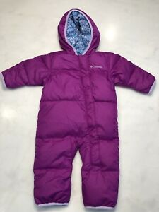 Columbia 6-12 months Down Snowsuit Infant Baby Girls Purple Winter EUC