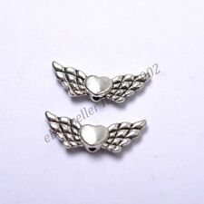 Tibetan Silver Heart Angel Wings Loose Spacer Beads Jewelry DIY Findings Z57