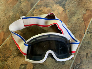 VTG 1980S no name GOGGLES GREEN Ski Snowboard Motocross MX red white blue strap
