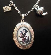 Alicia en el país de las Maravillas Sombrerero Loco Collar Relicario de plata del encanto del Steampunk Tenniel