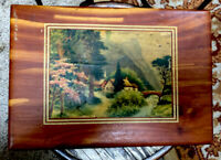 VTg Cedar Wooden Hinged Cigarette Cigar Box Illinois Tax Stamp Country Picture