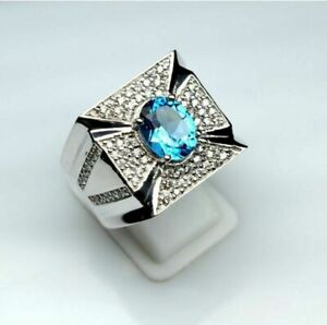 Natural Blue Topaz Gemstone Real Diamond 18K White Gold Men's Ring