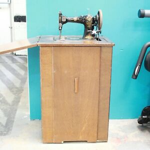 Antique Jones CWS Federation Family Sewing Machine Treadle Table Cabinet - 250