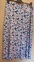Marks & Spencer Classic UK10 EU38 US6 blue floral stretch pull-on A-line skirt