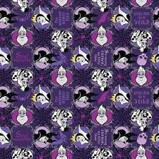 "1 yard Disney ""Vicious Villains""  Evil is the New Black"" Fabric"