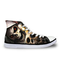 Skull Head Womens High Top Flat Shoes Sneakers Casual Walking Canvas Sport Shoes